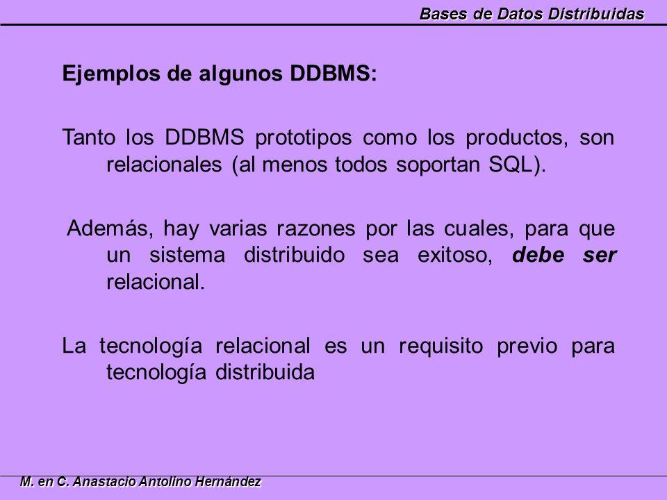 Bases de Datos Distribuidas M. en C. Anastacio Antolino Hernández Ejemplos de algunos DDBMS: Tanto los DDBMS prototipos como los productos, son relaci