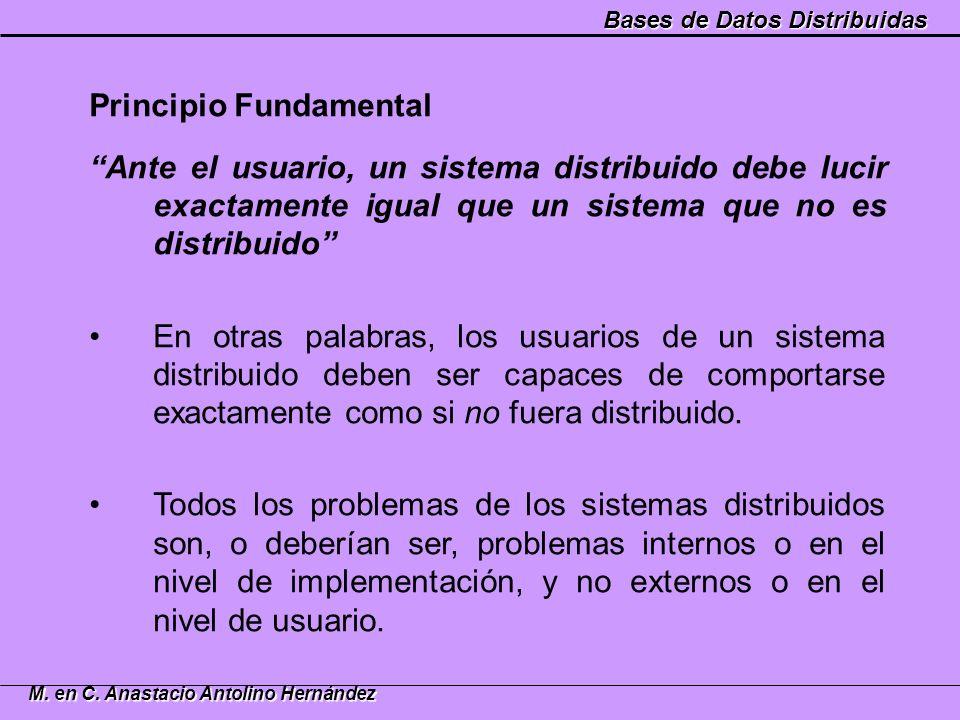 Bases de Datos Distribuidas M. en C. Anastacio Antolino Hernández Principio Fundamental Ante el usuario, un sistema distribuido debe lucir exactamente