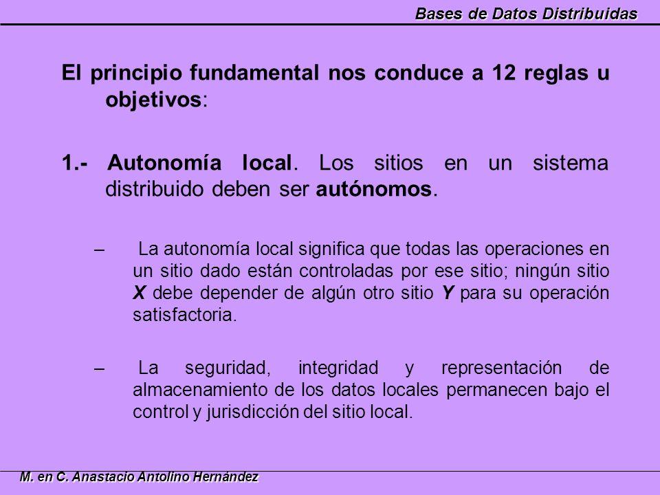 Bases de Datos Distribuidas M. en C. Anastacio Antolino Hernández El principio fundamental nos conduce a 12 reglas u objetivos: 1.- Autonomía local. L