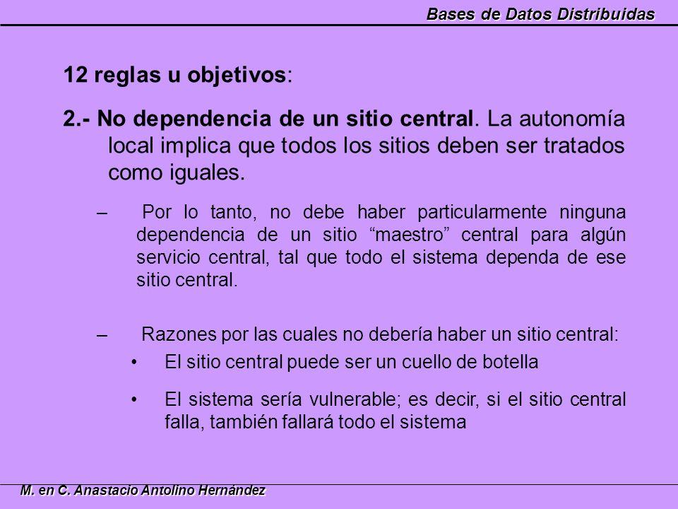 Bases de Datos Distribuidas M. en C. Anastacio Antolino Hernández 12 reglas u objetivos: 2.- No dependencia de un sitio central. La autonomía local im