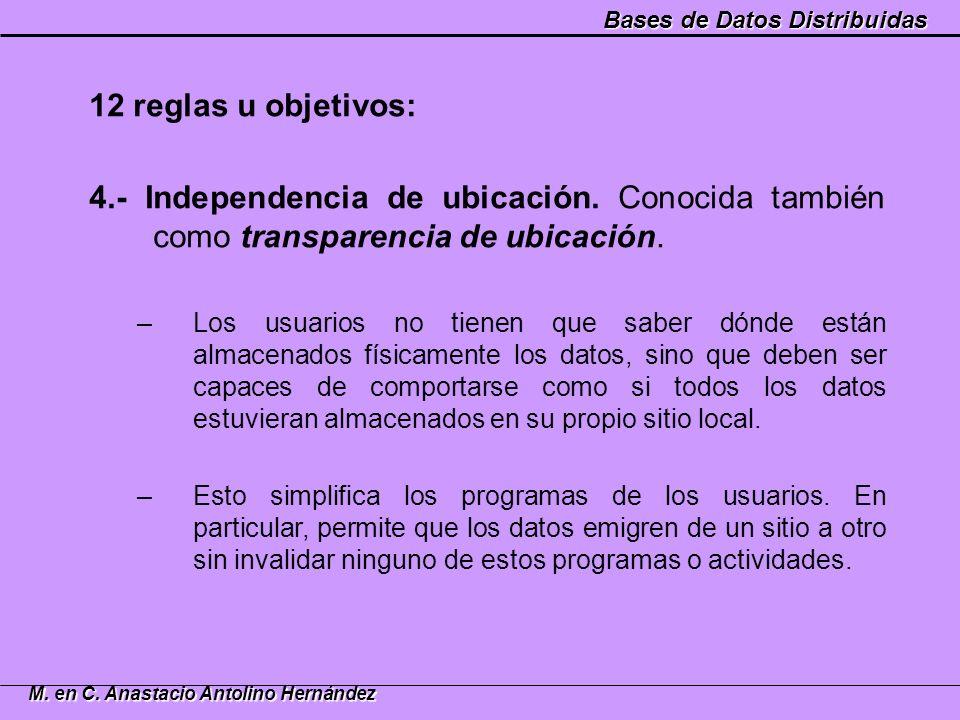 Bases de Datos Distribuidas M. en C. Anastacio Antolino Hernández 12 reglas u objetivos: 4.- Independencia de ubicación. Conocida también como transpa