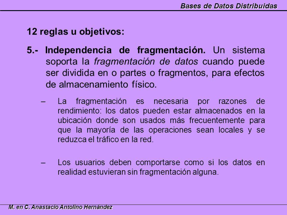 Bases de Datos Distribuidas M. en C. Anastacio Antolino Hernández 12 reglas u objetivos: 5.- Independencia de fragmentación. Un sistema soporta la fra