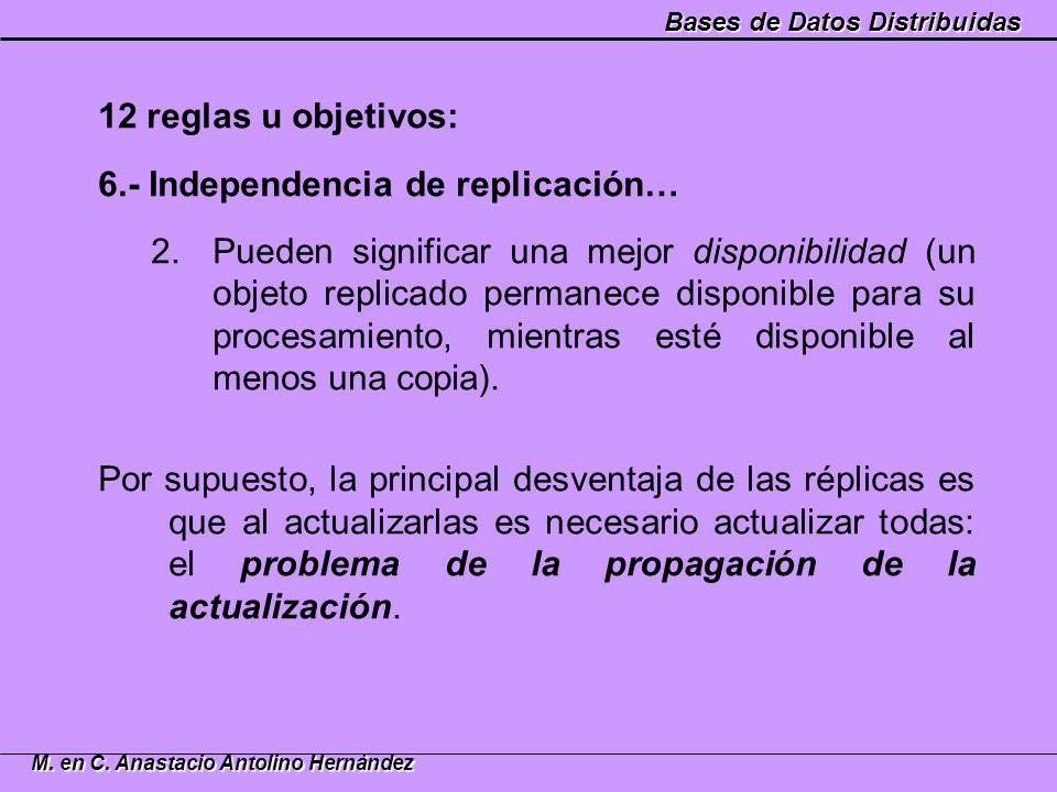 Bases de Datos Distribuidas M. en C. Anastacio Antolino Hernández 12 reglas u objetivos: 6.- Independencia de replicación… 2.Pueden significar una mej