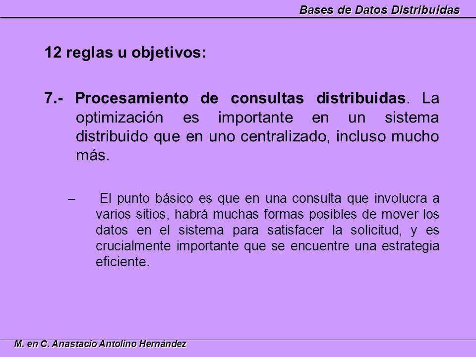 Bases de Datos Distribuidas M. en C. Anastacio Antolino Hernández 12 reglas u objetivos: 7.- Procesamiento de consultas distribuidas. La optimización