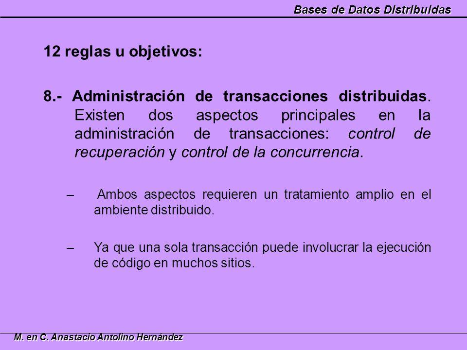 Bases de Datos Distribuidas M. en C. Anastacio Antolino Hernández 12 reglas u objetivos: 8.- Administración de transacciones distribuidas. Existen dos