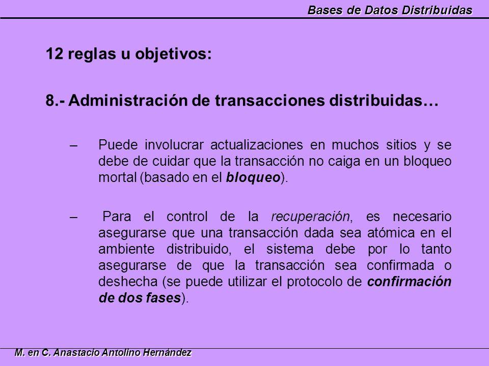 Bases de Datos Distribuidas M. en C. Anastacio Antolino Hernández 12 reglas u objetivos: 8.- Administración de transacciones distribuidas… –Puede invo