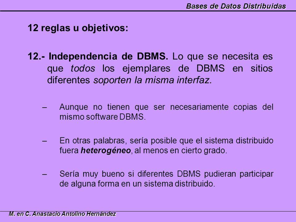 Bases de Datos Distribuidas M. en C. Anastacio Antolino Hernández 12 reglas u objetivos: 12.- Independencia de DBMS. Lo que se necesita es que todos l