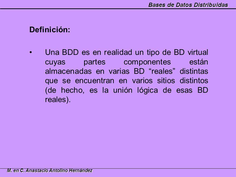 Bases de Datos Distribuidas M. en C. Anastacio Antolino Hernández Definición: Una BDD es en realidad un tipo de BD virtual cuyas partes componentes es