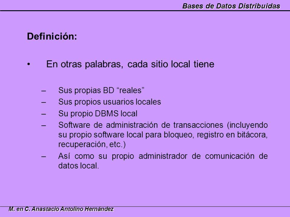 Bases de Datos Distribuidas M. en C. Anastacio Antolino Hernández Definición: En otras palabras, cada sitio local tiene –Sus propias BD reales –Sus pr