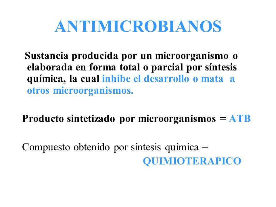 ANTIMICROBIANOS Sustancia producida por un microorganismo o elaborada en forma total o parcial por síntesis química, la cual inhibe el desarrollo o ma
