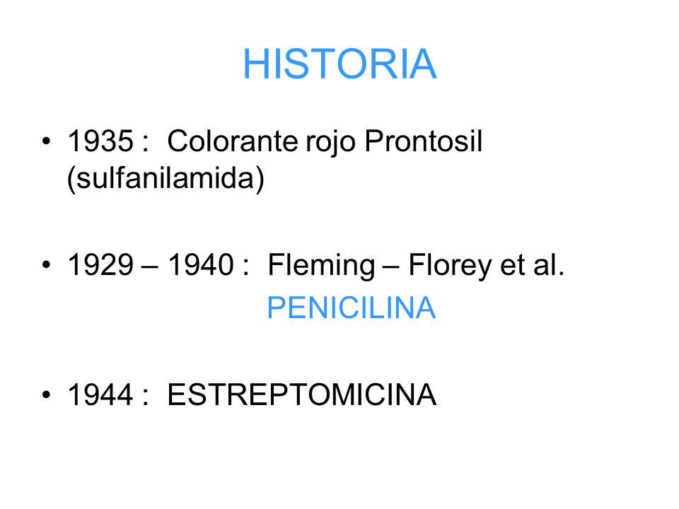 HISTORIA 1935 : Colorante rojo Prontosil (sulfanilamida) 1929 – 1940 : Fleming – Florey et al. PENICILINA 1944 : ESTREPTOMICINA