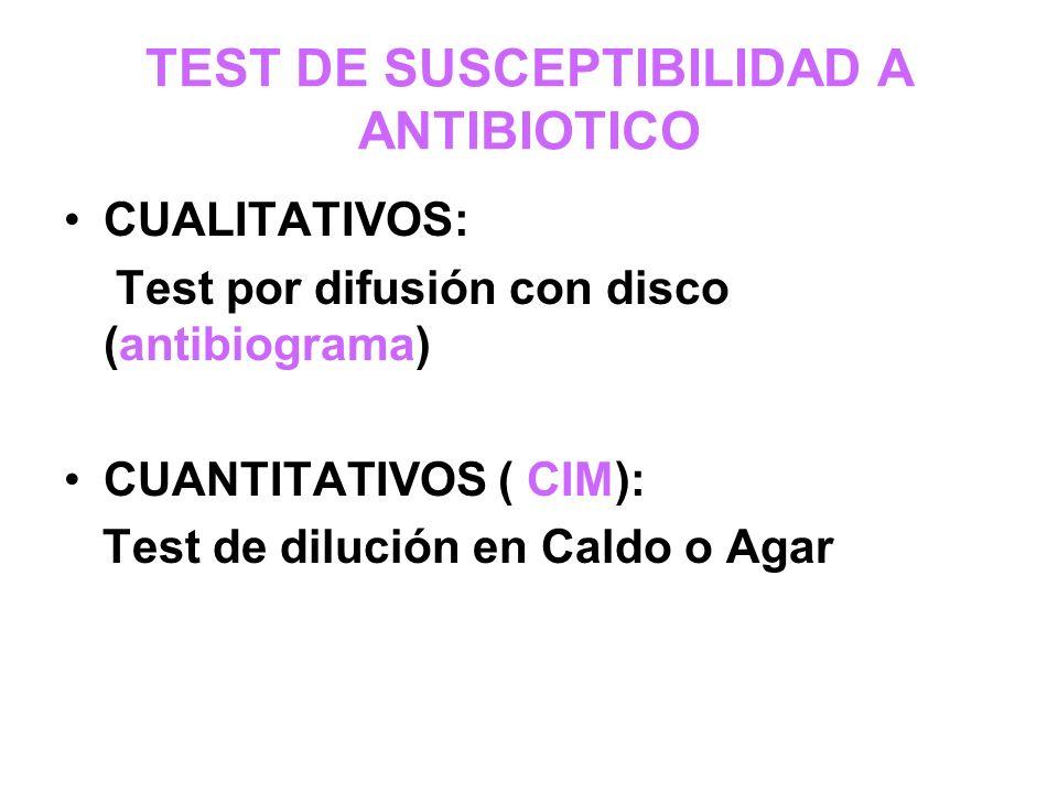 TEST DE SUSCEPTIBILIDAD A ANTIBIOTICO CUALITATIVOS: Test por difusión con disco (antibiograma) CUANTITATIVOS ( CIM): Test de dilución en Caldo o Agar