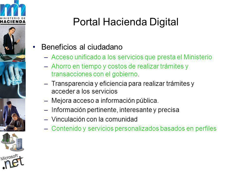 Portal Hacienda Digital Beneficios al ciudadano –Acceso unificado a los servicios que presta el Ministerio –Ahorro en tiempo y costos de realizar trámites y transacciones con el gobierno.
