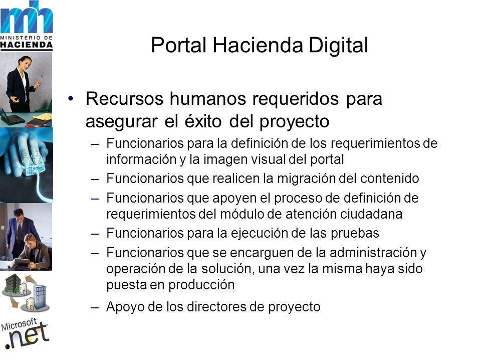 Portal Hacienda Digital Recursos humanos requeridos para asegurar el éxito del proyecto –Funcionarios para la definición de los requerimientos de info