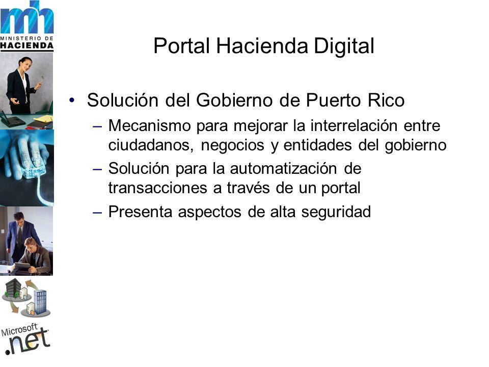 Portal Hacienda Digital Solución del Gobierno de Puerto Rico –Mecanismo para mejorar la interrelación entre ciudadanos, negocios y entidades del gobierno –Solución para la automatización de transacciones a través de un portal –Presenta aspectos de alta seguridad