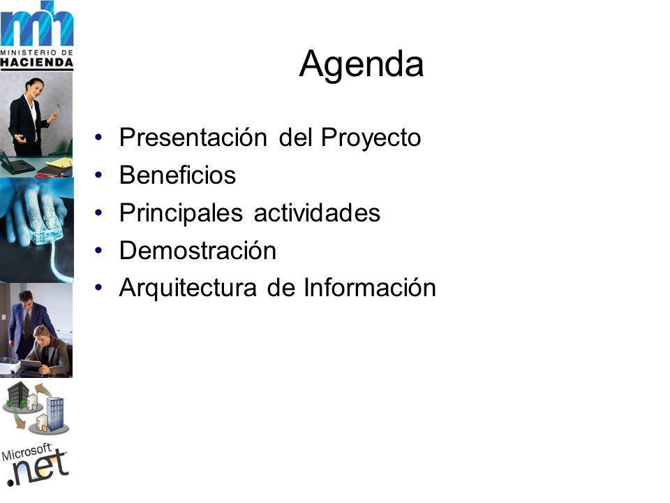 Agenda Presentación del Proyecto Beneficios Principales actividades Demostración Arquitectura de Información