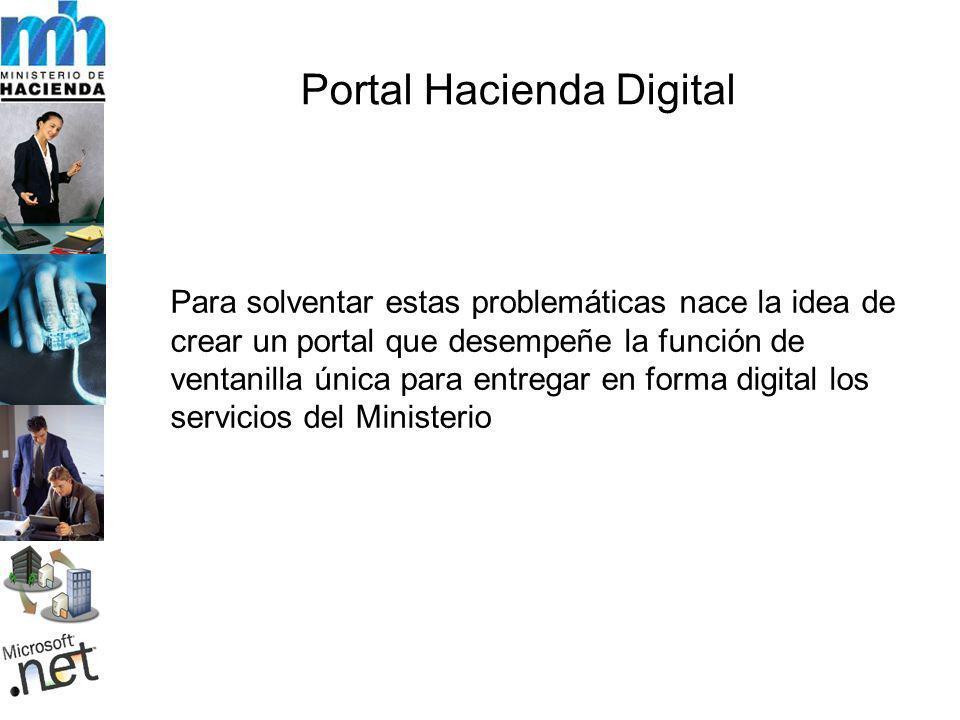 Portal Hacienda Digital Para solventar estas problemáticas nace la idea de crear un portal que desempeñe la función de ventanilla única para entregar en forma digital los servicios del Ministerio