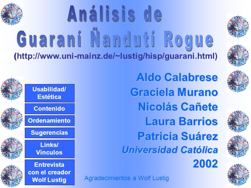 Aldo Calabrese Graciela Murano Nicolás Cañete Laura Barrios Patricia Suárez Universidad Católica 2002 ( http://www.uni-mainz.de/~lustig/hisp/guarani.h