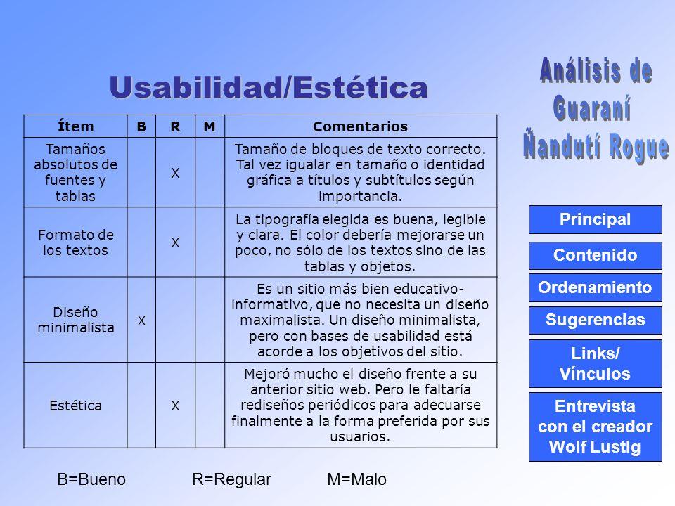 Usabilidad/Estética Principal Contenido Ordenamiento Links/ Vínculos Sugerencias Entrevista con el creador Wolf Lustig ÍtemBRMComentarios Tamaños absolutos de fuentes y tablas X Tamaño de bloques de texto correcto.