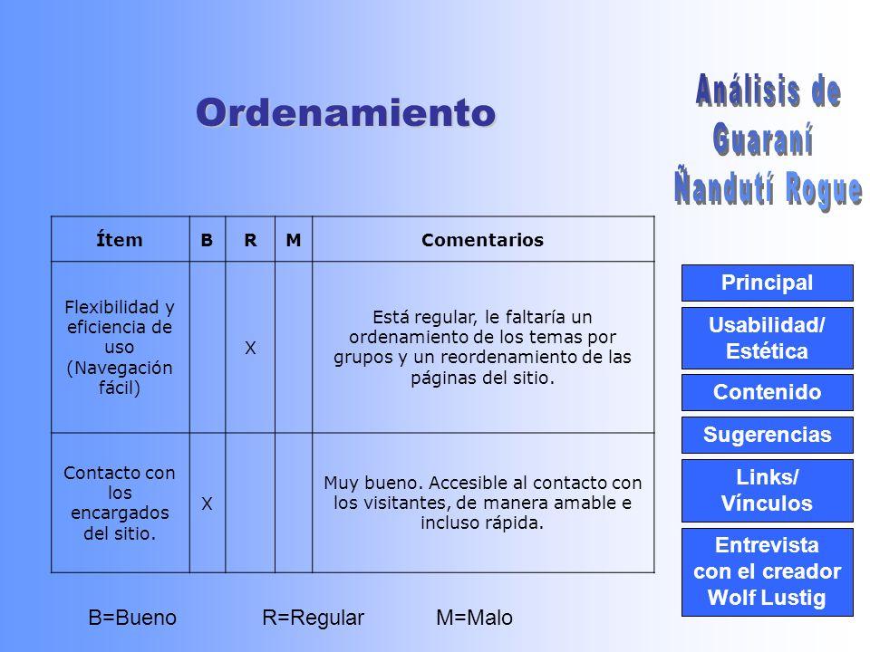 Usabilidad/ Estética Contenido Ordenamiento Links/ Vínculos Principal Entrevista con el creador Wolf LustigSugerencias El sitio de Guaraní Ñandutí Rogué ha mejorado mucho luego de su último rediseño.