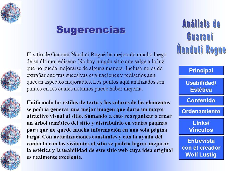 Usabilidad/ Estética Contenido Ordenamiento Links/ Vínculos Principal Entrevista con el creador Wolf LustigSugerencias El sitio de Guaraní Ñandutí Rog
