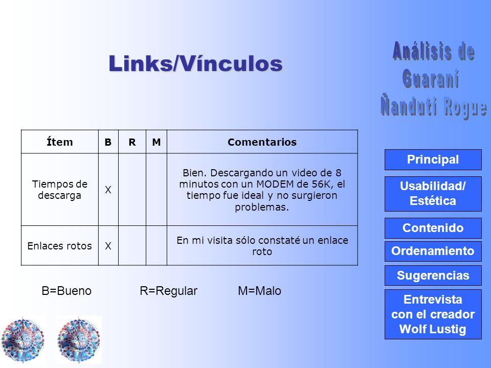 Usabilidad/ Estética Contenido Ordenamiento Principal Entrevista con el creador Wolf Lustig SugerenciasLinks/Vínculos ÍtemBRMComentarios Tiempos de descarga X Bien.
