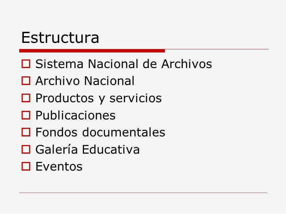 Estructura Sistema Nacional de Archivos Archivo Nacional Productos y servicios Publicaciones Fondos documentales Galería Educativa Eventos