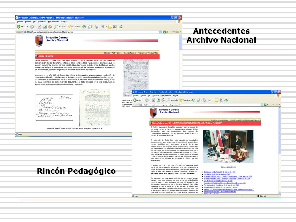 Antecedentes Archivo Nacional Rincón Pedagógico
