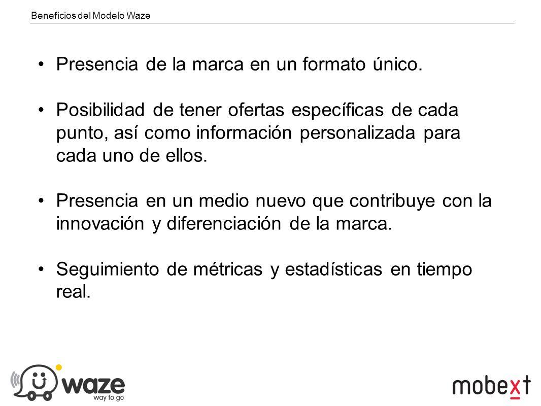 Beneficios del Modelo Waze Presencia de la marca en un formato único.