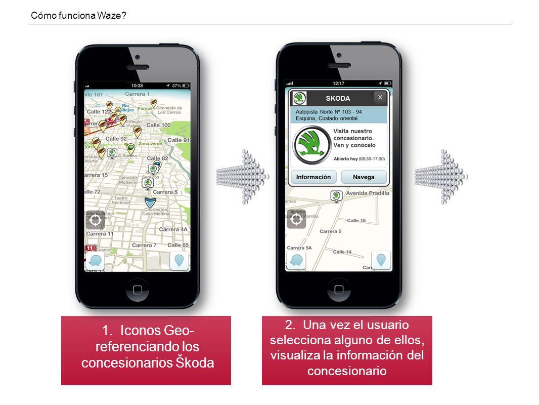 1.Iconos Geo- referenciando los concesionarios Škoda Cómo funciona Waze.