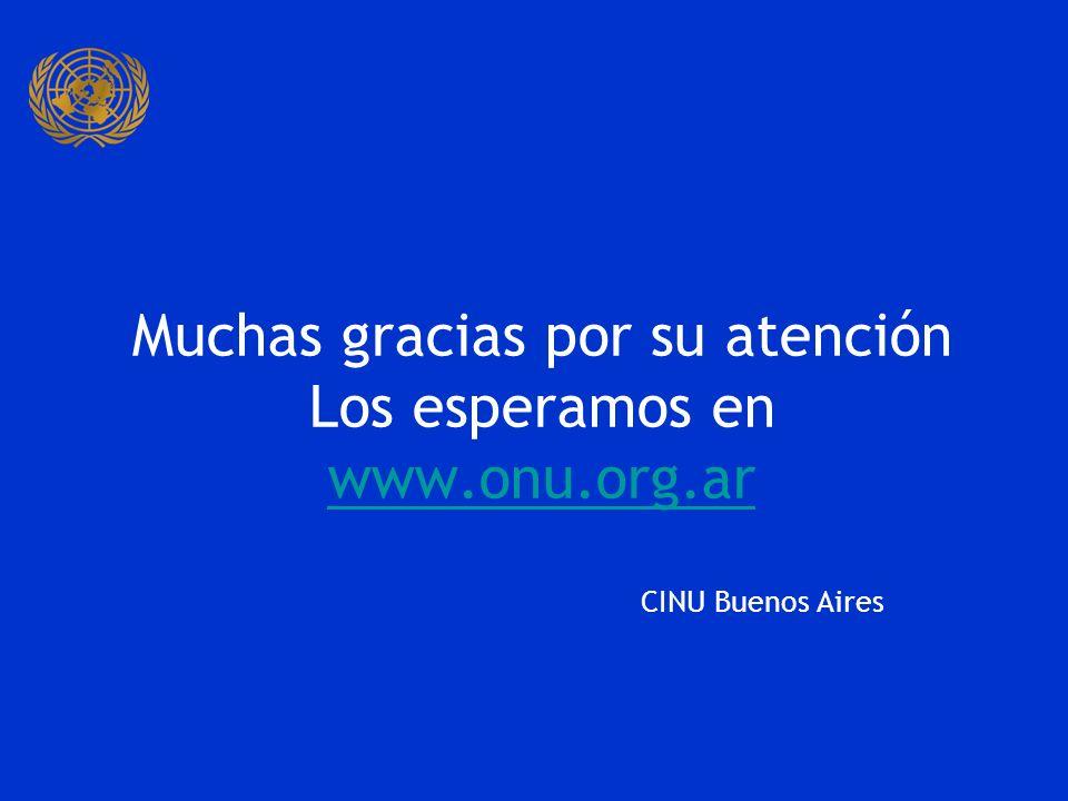 Muchas gracias por su atención Los esperamos en www.onu.org.ar www.onu.org.ar CINU Buenos Aires