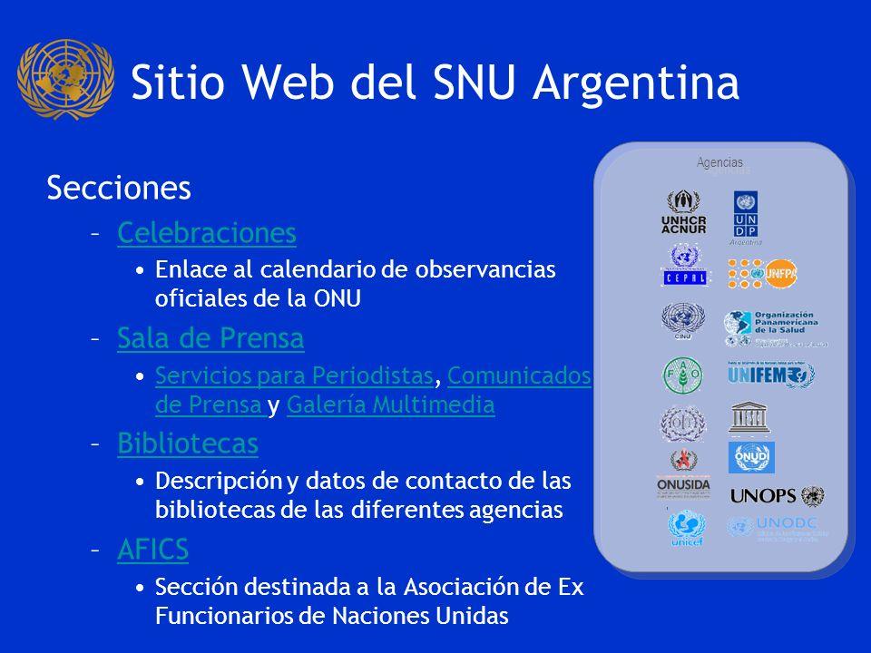 Sitio Web del SNU Argentina Secciones: –¿Qué es la ONU?¿Qué es la ONU.