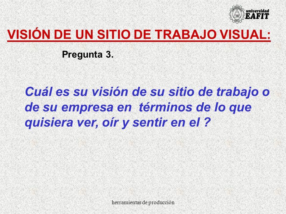 herramientas de producción VISIÓN DE UN SITIO DE TRABAJO VISUAL: Cuál es su visión de su sitio de trabajo o de su empresa en términos de lo que quisie