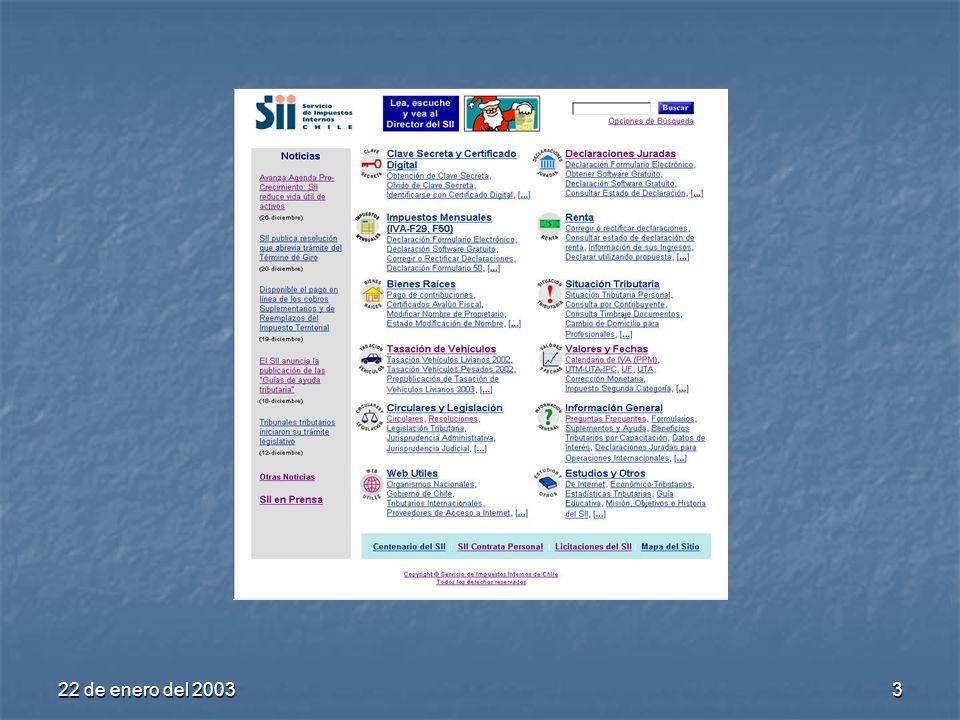 22 de enero del 200314 Oficina Virtual (Columna central) Clave Secreta y Certificado Digital Declaraciones Juradas Impuestos Mensuales (F29, F50) Renta Situación Tributaria Bienes Raíces Factura ElectrónicaFactura Electrónica (nuevo) Circulares y Legislación Valores y Fechas 2.
