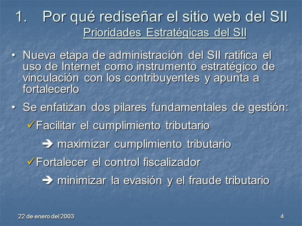 22 de enero del 20035 Se apunta a que el Servicio, en el cumplimiento de su misión institucional, también constituya un facilitador y promotor del desarrollo económico en ChileSe apunta a que el Servicio, en el cumplimiento de su misión institucional, también constituya un facilitador y promotor del desarrollo económico en Chile 1.Por qué rediseñar el sitio web del SII Prioridades Estratégicas del SII… simplificar y disminuir los costos de cumplimiento aumentar productividad y eficiencia económica de los agentes económicos (contribuyentes) simplificar y disminuir los costos de cumplimiento aumentar productividad y eficiencia económica de los agentes económicos (contribuyentes) potenciar y masificar el uso de las TICs para trámites tributarios y promover su contagio en otras áreas públicas potenciar y masificar el uso de las TICs para trámites tributarios y promover su contagio en otras áreas públicas propiciar competencia leal entre agentes económicos, minimizando la evasión tributaria propiciar competencia leal entre agentes económicos, minimizando la evasión tributaria