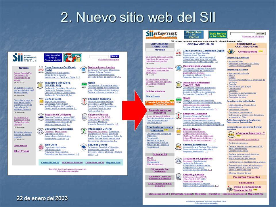 22 de enero del 20039 2. Nuevo sitio web del SII
