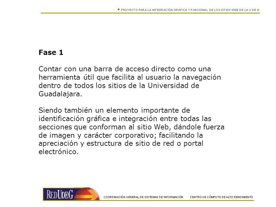Fase 1 Contar con una barra de acceso directo como una herramienta útil que facilita al usuario la navegación dentro de todos los sitios de la Universidad de Guadalajara.