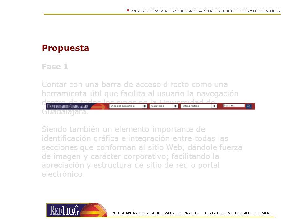 Propuesta Fase 1 Contar con una barra de acceso directo como una herramienta útil que facilita al usuario la navegación dentro de todos los sitios de la Universidad de Guadalajara.