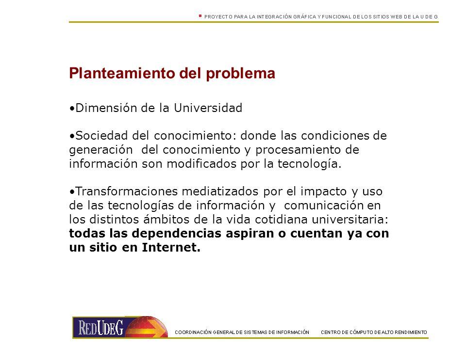 Planteamiento del problema Dimensión de la Universidad Sociedad del conocimiento: donde las condiciones de generación del conocimiento y procesamiento de información son modificados por la tecnología.
