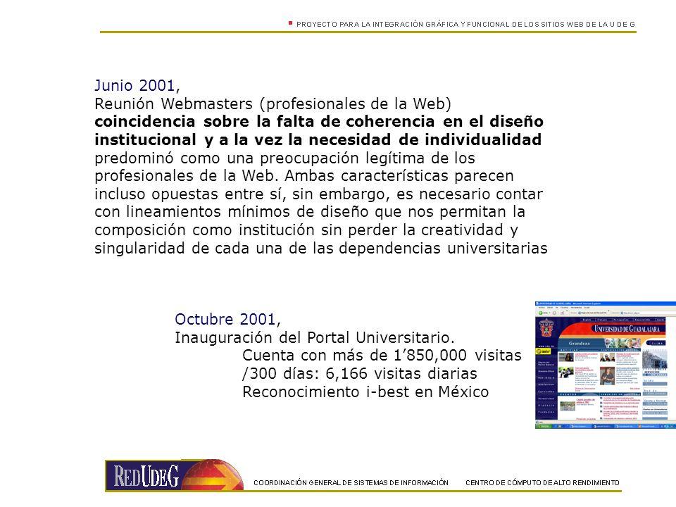 Junio 2001, Reunión Webmasters (profesionales de la Web) coincidencia sobre la falta de coherencia en el diseño institucional y a la vez la necesidad de individualidad predominó como una preocupación legítima de los profesionales de la Web.