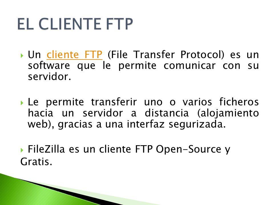 Un cliente FTP (File Transfer Protocol) es un software que le permite comunicar con su servidor.cliente FTP Le permite transferir uno o varios fichero