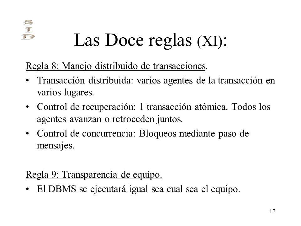 17 Las Doce reglas (XI) : Regla 8: Manejo distribuido de transacciones. Transacción distribuida: varios agentes de la transacción en varios lugares. C