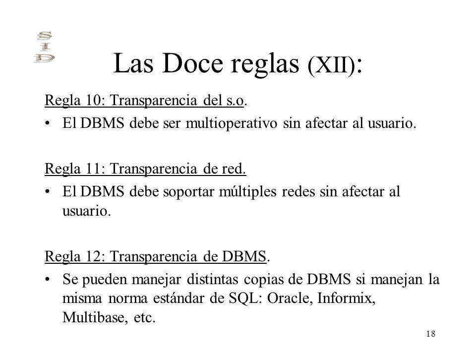 18 Las Doce reglas (XII) : Regla 10: Transparencia del s.o. El DBMS debe ser multioperativo sin afectar al usuario. Regla 11: Transparencia de red. El