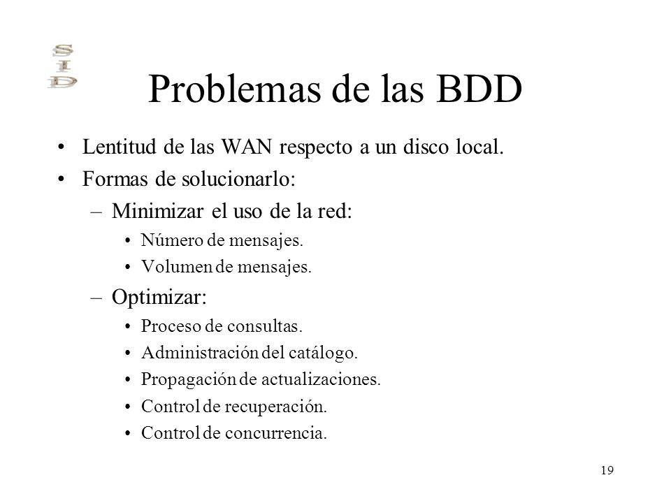 19 Problemas de las BDD Lentitud de las WAN respecto a un disco local. Formas de solucionarlo: –Minimizar el uso de la red: Número de mensajes. Volume