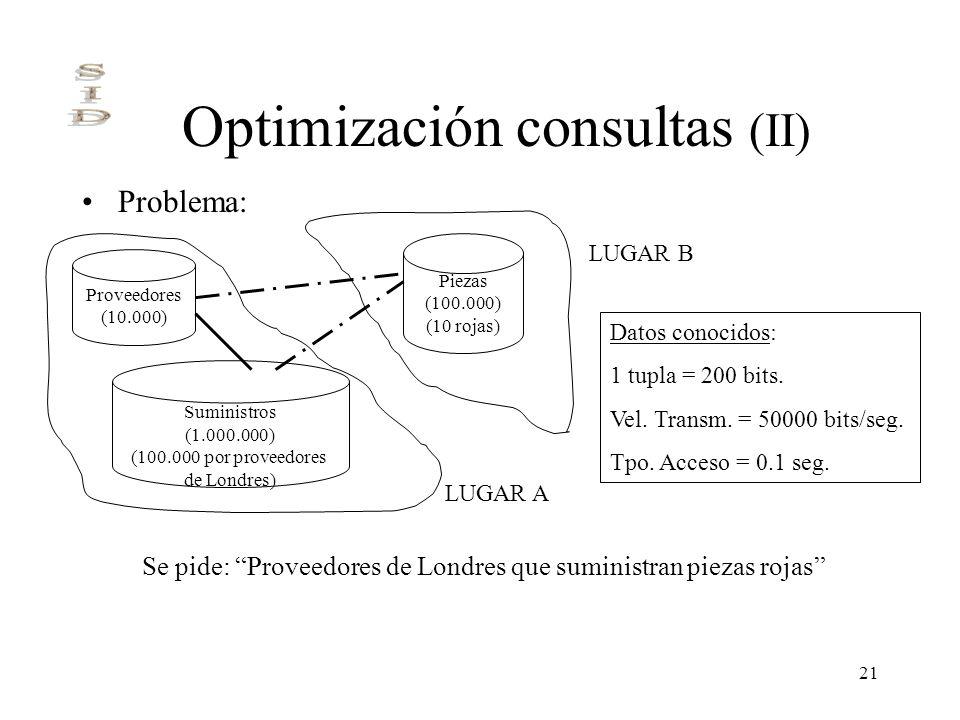 21 Optimización consultas (II) Problema: Proveedores (10.000) Piezas (100.000) (10 rojas) Suministros (1.000.000) (100.000 por proveedores de Londres)