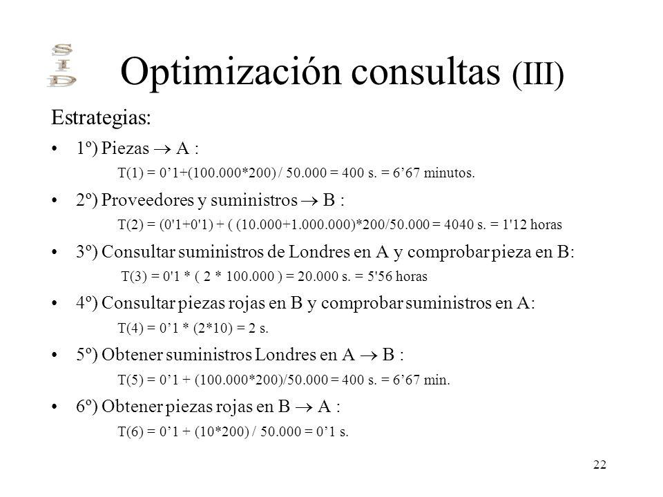 22 Optimización consultas (III) Estrategias: 1º) Piezas A : T(1) = 01+(100.000*200) / 50.000 = 400 s. = 667 minutos. 2º) Proveedores y suministros B :