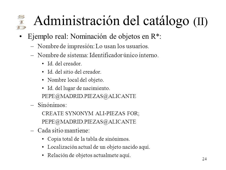 24 Administración del catálogo (II) Ejemplo real: Nominación de objetos en R*: –Nombre de impresión: Lo usan los usuarios. –Nombre de sistema: Identif