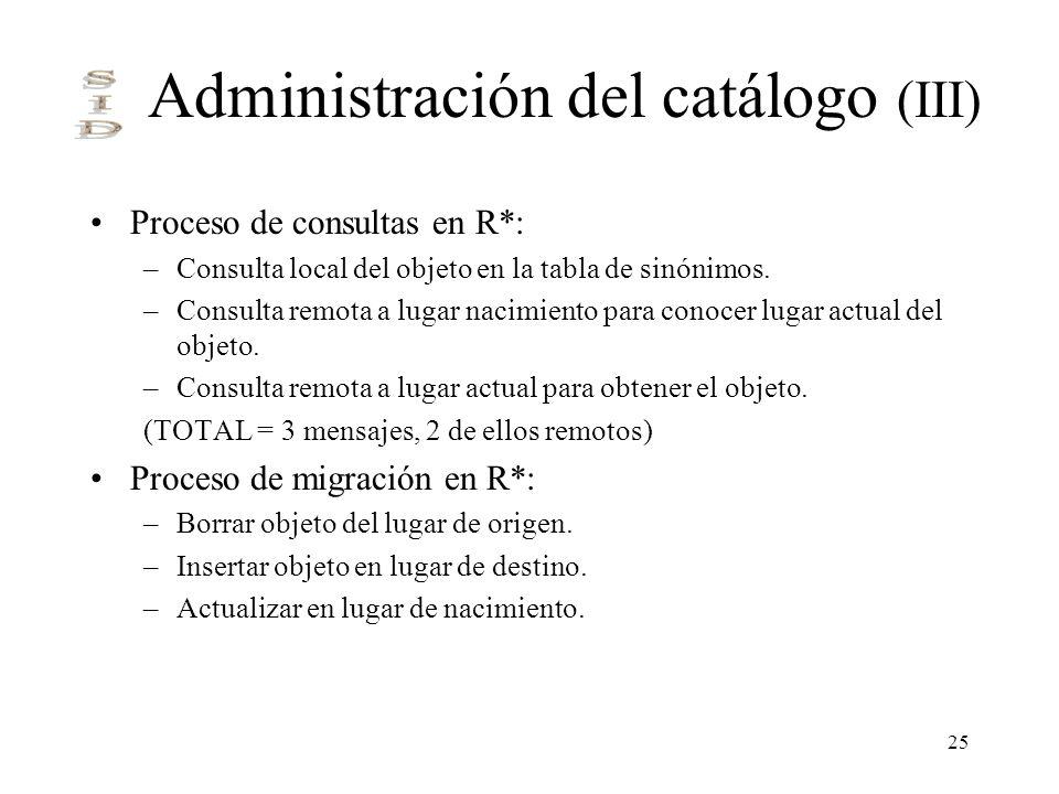 25 Administración del catálogo (III) Proceso de consultas en R*: –Consulta local del objeto en la tabla de sinónimos. –Consulta remota a lugar nacimie