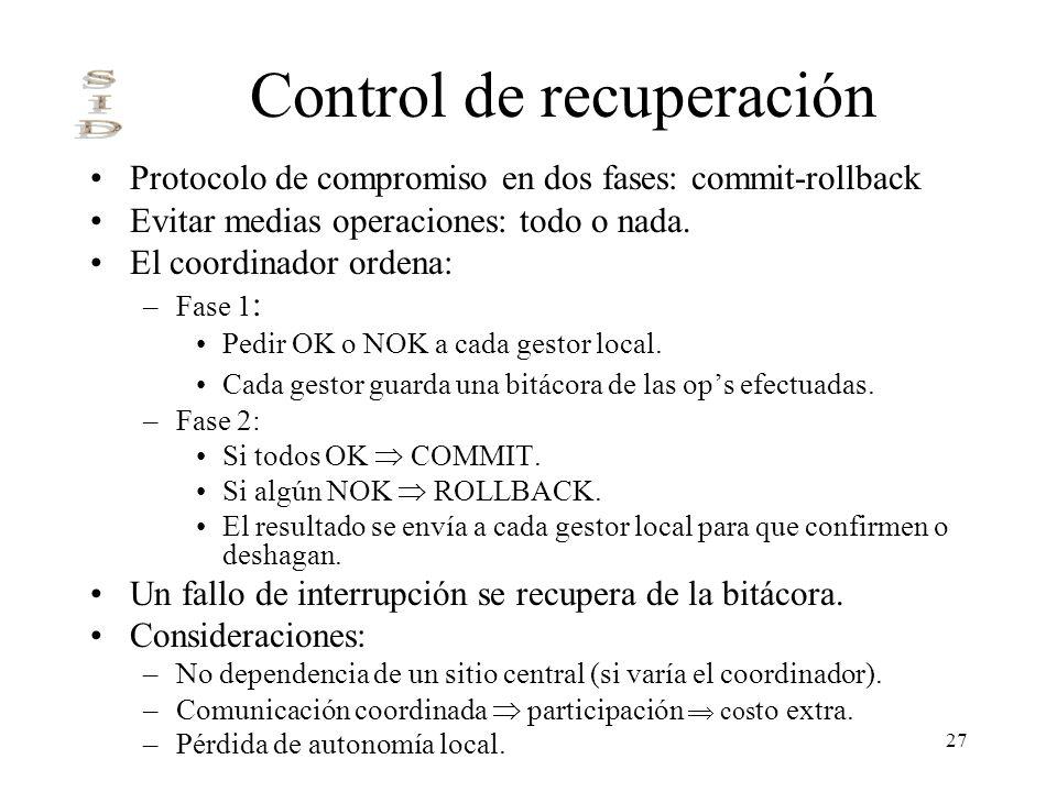 27 Control de recuperación Protocolo de compromiso en dos fases: commit-rollback Evitar medias operaciones: todo o nada. El coordinador ordena: –Fase