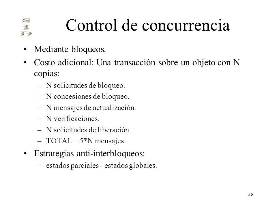 28 Control de concurrencia Mediante bloqueos. Costo adicional: Una transacción sobre un objeto con N copias: –N solicitudes de bloqueo. –N concesiones
